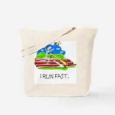 I Run Fast Stick Figure Tote Bag