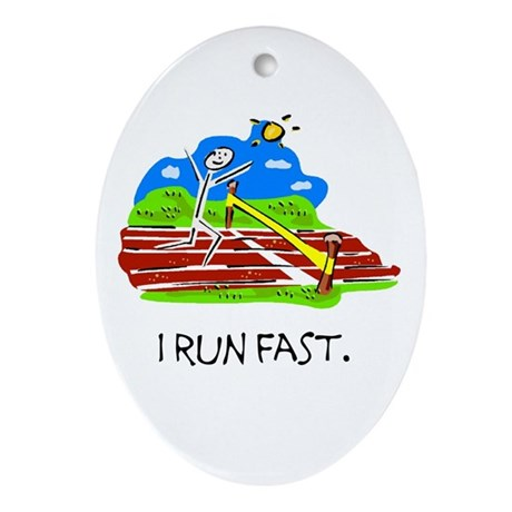 I Run Fast Stick Figure Ceramic Ornament