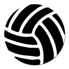 Black Volley Ball Round Car Magnet