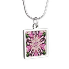 Hydrangea Abstract Mandala Silver Square Necklace