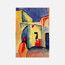 August Macke painting, A Glance D Rectangle Magnet