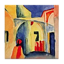 August Macke painting, A Glance Down  Tile Coaster
