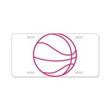 Pink Basket Ball Aluminum License Plate