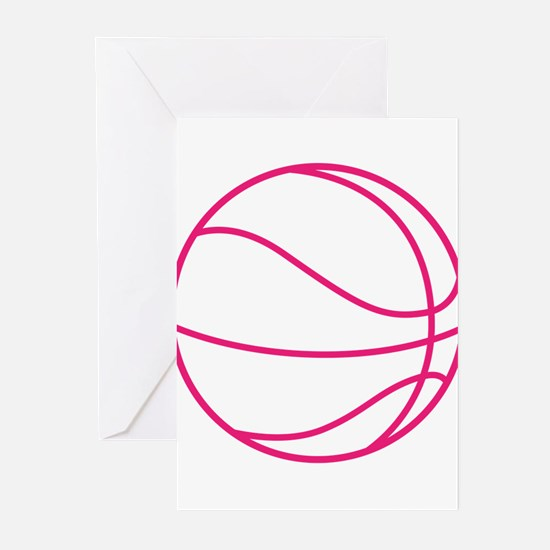 Pink Basket Ball Greeting Cards