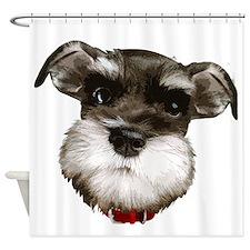 mini_schnauzer_face001 Shower Curtain