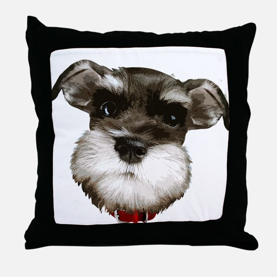 mini_schnauzer_face001 Throw Pillow
