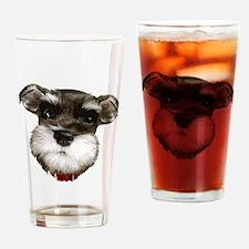 mini_schnauzer_face001 Drinking Glass