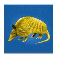 Yellow Armidillo on Blue Tile Coaster