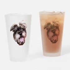 mini_schnauzer_face002 Drinking Glass