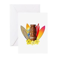 Tiki and Surfboards Greeting Cards