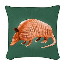 Orange Armadillo on Green Woven Throw Pillow