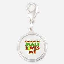Somebody in Mali Loves me Silver Round Charm