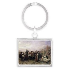 The First Thanksgiving at Plymouth Keychains