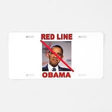 RED LINE OBAMA Aluminum License Plate
