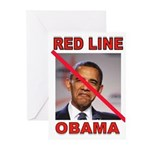RED LINE OBAMA Greeting Cards