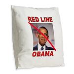 RED LINE OBAMA Burlap Throw Pillow