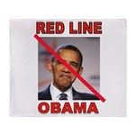 RED LINE OBAMA Throw Blanket
