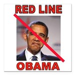 RED LINE OBAMA Square Car Magnet 3
