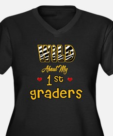 Wild About my 1st Graders Women's Plus Size V-Neck