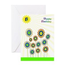 8th birthday with happy flowers Greeting Cards
