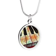 Marble Piano Silver Round Necklace