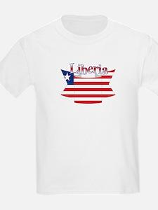 Liberia flag ribbon Kids T-Shirt