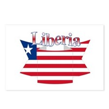 Liberia flag ribbon Postcards (Package of 8)