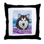 Malamute and sled team Throw Pillow