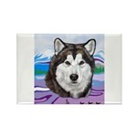Malamute and sled team Rectangle Magnet (100 pack)