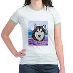 Malamute and sled team Jr. Ringer T-Shirt