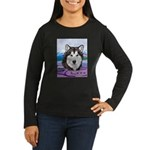 Malamute and sled team Women's Long Sleeve Dark T-