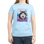 Malamute and sled team Women's Pink T-Shirt