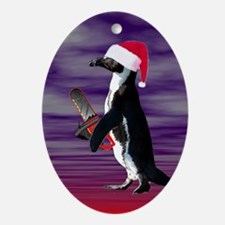 Evil Chainsaw Santa Penguin Oval Ornament