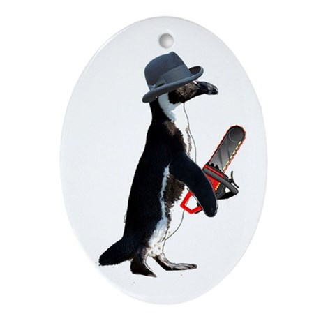 Chainsaw Penguin Oval Ornament
