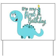 Dinosaur First Birthday Yard Sign