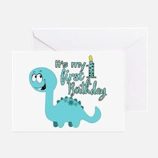 Dinosaur First Birthday Greeting Card