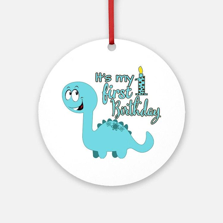 Dinosaur First Birthday Ornament (Round)