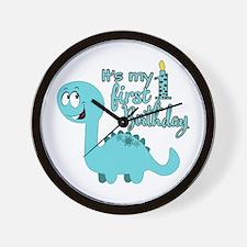 Dinosaur First Birthday Wall Clock