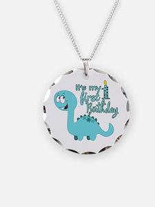 Dinosaur First Birthday Necklace Circle Charm