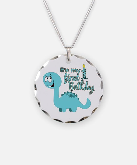 Dinosaur First Birthday Necklace Circle Charm