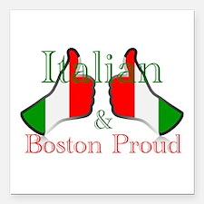 "Italian and Boston Proud Square Car Magnet 3"" x 3"""