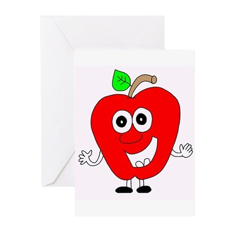 smiling apple Greeting Cards