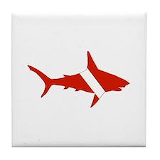 Shark Diver Tile Coaster