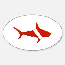 Shark Diver Sticker (Oval)