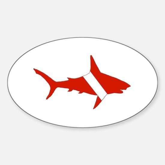 Shark Diver Sticker (Oval)