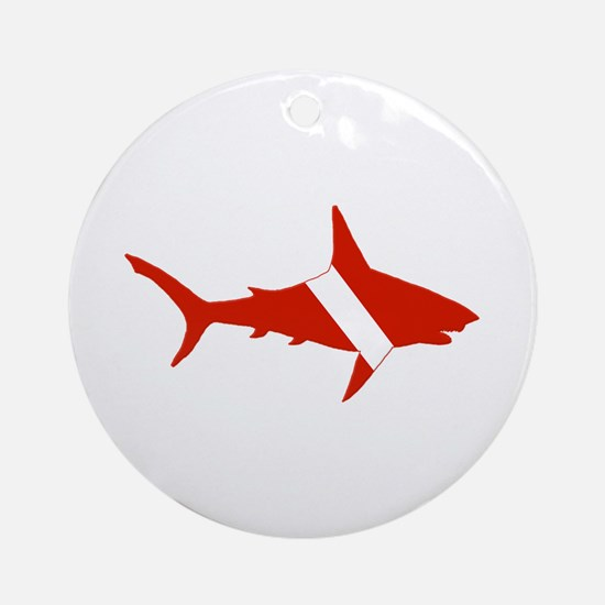 Shark Diver Ornament (Round)