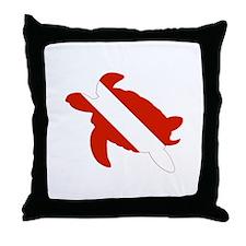 Turtle Diver Throw Pillow