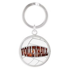 Volleyball Round Keychain
