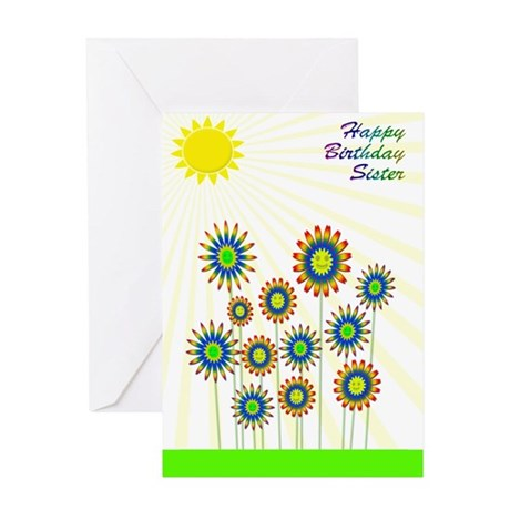 Birthday for sister with happy flowers Greeting Ca