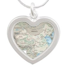 China Map Silver Heart Necklace